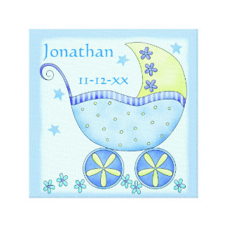 Blue Baby Buggy Boy Name Birth Date Art Gallery Wrapped Canvas