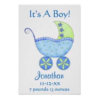 Blue Baby Buggy Boy Name Birth Date Art Poster