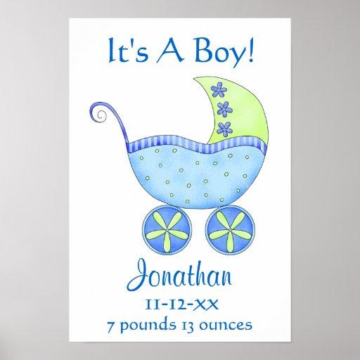 Blue Baby Buggy Boy Name Birth Date Art Print
