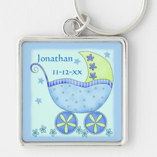 Blue Baby Buggy Boy Name Birth Date Commemorative Keychain
