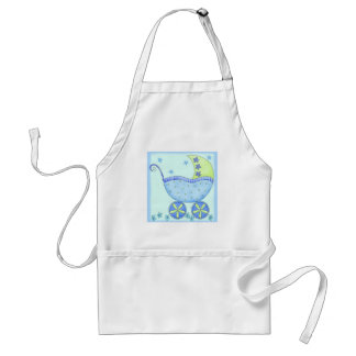 Blue Baby Buggy Carriage Baby Customized Adult Apron