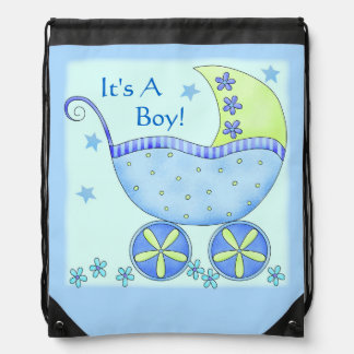 Blue Baby Buggy Carriage Customized Drawstring Bag