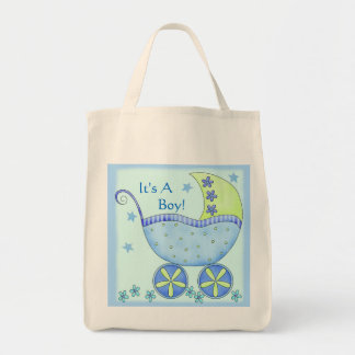 Blue Baby Buggy Carriage Customized Tote Bag