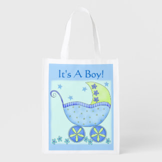 Blue Baby Buggy Carriage It's A Boy Grocery Bag