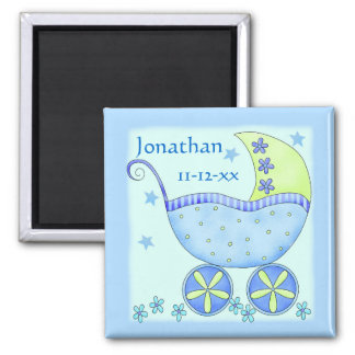Blue Baby Buggy Carriage Name Birth Date Custom Magnets