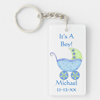 Blue Baby Buggy Carriage Name Birth Date Keychain