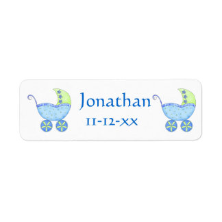 Blue Baby Buggy Carriage Name Birthdate Customized Return Address Label