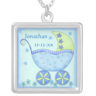 Blue Baby Buggy Carriage Name Birthdate Square Pendant Necklace