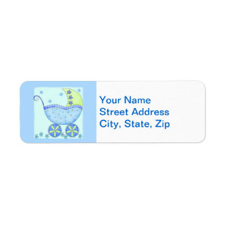 Blue Baby Buggy Carriage Shower Customized Label