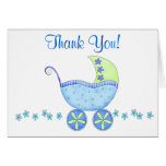 Blue Baby Buggy Carriage Thank You Stationery Note Card