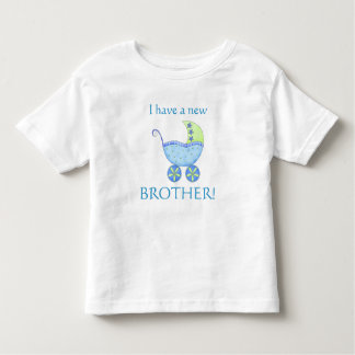 "Blue Baby Buggy ""I have a New Brother"" Toddler Tee Shirt"