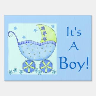 Blue Baby Buggy Its A Boy Birth Announcement Yard Sign