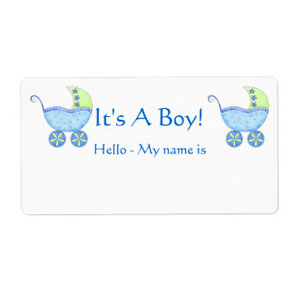 Blue Baby Buggy It's A Boy Shower Name Tag Shipping Label