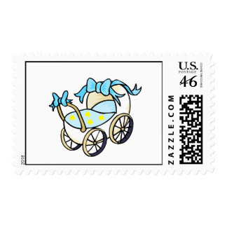 blue baby buggy postage stamp