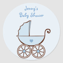 Blue Baby Buggy Shower Stickers Envelope Seals