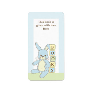 Blue Baby Bunny Book Gift Book Plate Label