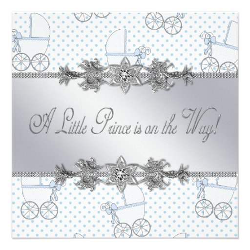 Blue Baby Carriage Baby Boy Prince Shower Personalized Announcements