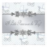 Blue Baby Carriage Baby Boy Prince Shower Invites
