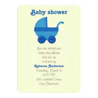Blue Baby carriage baby boy shower Card