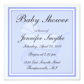 """Blue Baby Carriage Baby Shower Invitation 5.25"""" Square Invitation Card"""