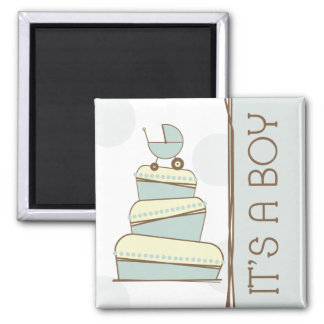 "Blue Baby Carriage Cake ""It's A Boy"" Magnet"