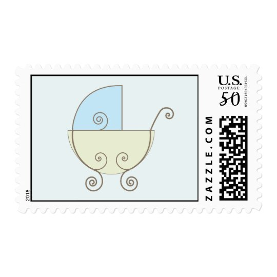 Blue Baby Carriage Postage Stamp