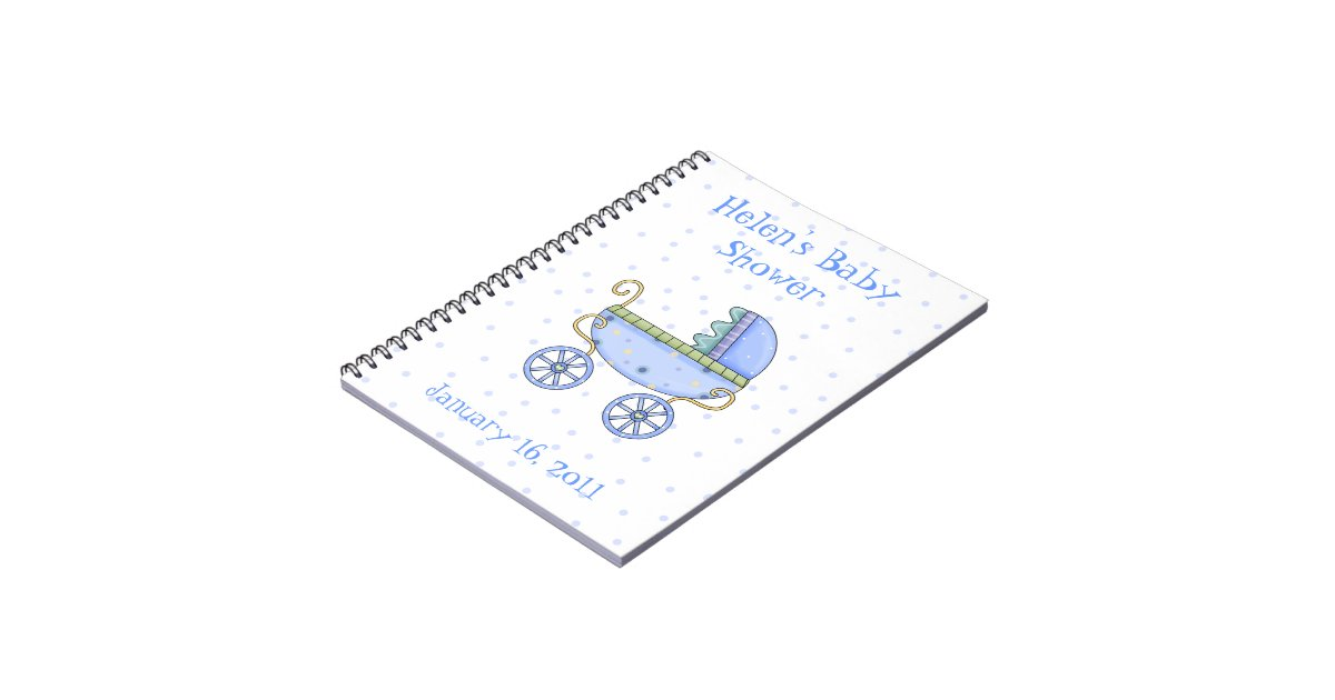 Blue Baby Carriage Shower Notebook Zazzle