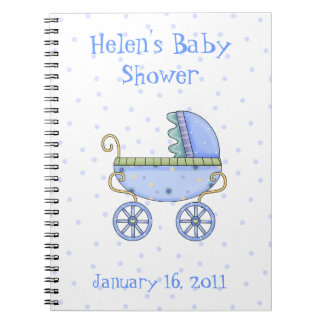 Blue Baby Carriage Shower Notebook