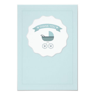 Blue Baby Carriage Thank You Notecard
