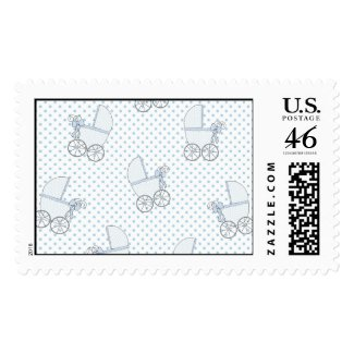 Blue Baby Carriages Baby Boy Postage stamp