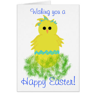 Blue Baby Chick Easter Blessings Greeting Card