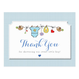 Blue Baby Clothes | Thank You Postcard
