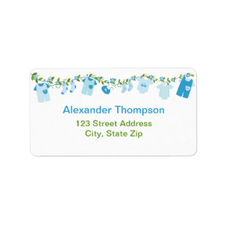 Blue Baby Clothesline Address Labels