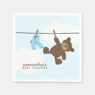 Blue Baby Clothesline and Teddy Bear Paper Napkin