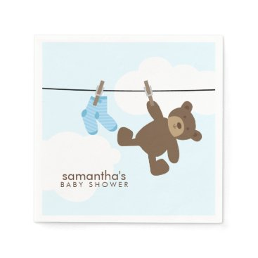 heartlocked Blue Baby Clothesline and Teddy Bear Paper Napkin
