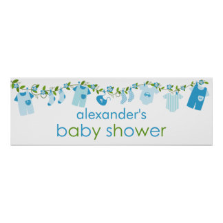 Blue Baby Clothesline Baby Shower Banner Poster