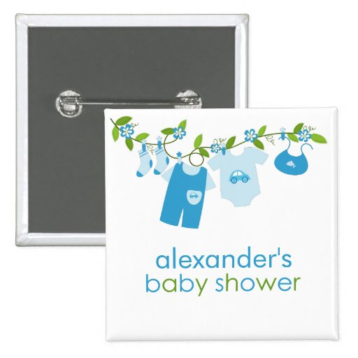 blue baby clothesline baby shower button zazzle