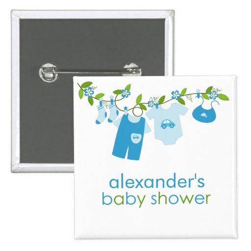 blue baby clothesline baby shower button zazzle