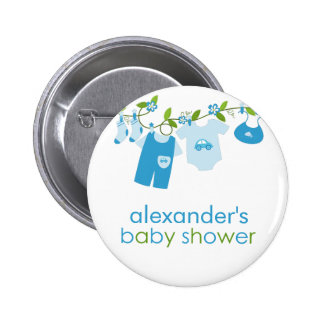 blue baby clothesline baby shower button