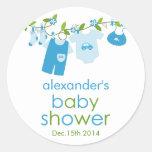 Blue Baby Clothesline Baby Shower Sticker