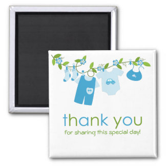 Blue Baby Clothesline Thank You Magnet