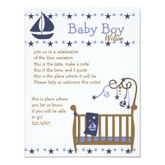 Blue Baby Crib Card