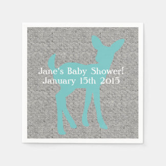 Blue Baby Deer and Gray Burlap Napkins