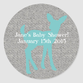 Blue Baby Deer and Gray Burlap Stickers