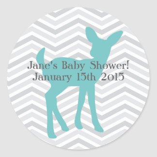 Blue Baby Deer and Gray Chevron Stickers