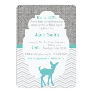 Blue Baby Deer Burlap Chevron Baby Shower Invite