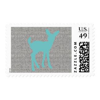 Blue Baby Deer Gray Burlap Postage