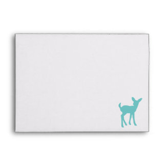 Blue Baby Deer with Burlap Lined Envelopes