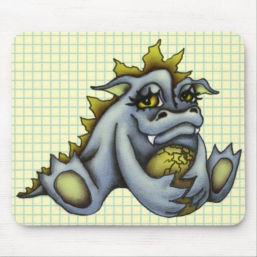Blue baby dragon mousepads