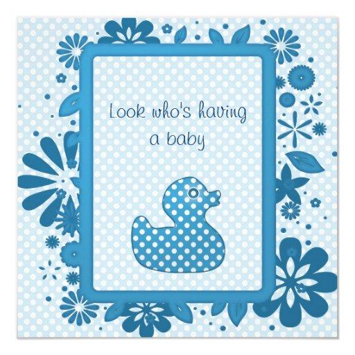blue baby ducky invitation